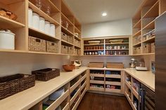 Beautifully organized large pantry - baskets, containers, pull out shelves and counter space - great setup - Mulberry Lane Residence - traditional - Kitchen - San Francisco - Cody Anderson Wasney Architects, Inc. Pantry Room, Walk In Pantry, Pantry Storage, Walkin Pantry Ideas, Pantry Shelving, Storage Room, Sliding Shelves, Shoe Shelves, Kitchen Pantry Design