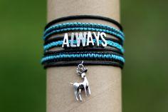 Always bracelet (Harry Potter)   - knotted bracelet - flat knot (cobra knot), braid (three strands)