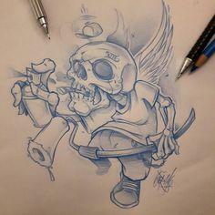 Last one for today. .. #ozer #tatouage #tattoo #tatouage #graffiti #loveletters #ironink #nantes #westcotedeporc #skull: