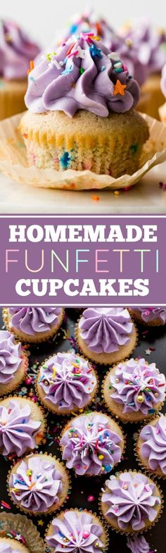 These are the BEST homemade funfetti cupcakes! From scratch soft and fluffy funfetti cupcakes with creamy vanilla buttercream and birthday sprinkles! Recipe on http://sallysbakingaddiction.com