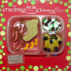 Cute bento full of Christmas stockings in EasyLunchBoxes! #lunchbox_notes #lunchnotes #lunch