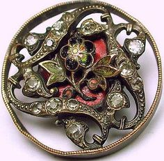 Antique Openwork Enamel Button with Pastes.