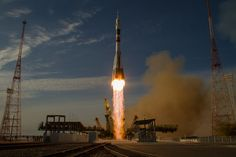 https://flic.kr/p/dngfKj | Expedition 33 Soyuz Launch | The Soyuz rocket with Expedition 33/34 crew members, Soyuz Commander Oleg Novitskiy, Flight Engineer Kevin Ford of NASA, and Flight Engineer Evgeny Tarelkin of ROSCOSMOS onboard the TMA-06M spacecraft launches to the International Space Station on Tuesday, October 23, 2012, in Baikonur, Kazakhstan. Ford, Novitskiy and Tarelkin will be on a five-month mission aboard the International Space Station.  Photo Credit: (NASA/Bill Ingalls)