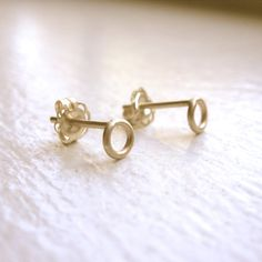 14k open circle studs 4mm Solid yellow gold simple hoop post earrings Open gold circle stud Circle post earrings 14k gold circle studs 0126 by VirginiaWynne