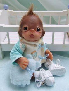 OOAK Baby Orangutan Monkey Boy Sculpted Polymer Clay Art Doll Noah's Ark #Dolls
