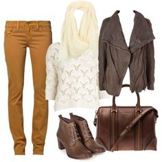 """calça cor camelo"" by denise-hellwig on Polyvore"