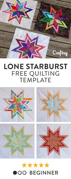 Lone Starburst Paper Piecing Templates This free foundation paper-piecing template will create my favorite bordered star, the Lone Starburst, perfect for swap bees or a modern quilt. Hand Quilting Patterns, Paper Pieced Quilt Patterns, Beginner Quilt Patterns, Barn Quilt Patterns, Quilting Templates, Machine Quilting Designs, Modern Quilt Patterns, Quilting For Beginners, Patchwork Quilting