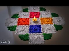 Beautiful and innovative multicoloured rangoli design for Diwali Easy Rangoli Designs Videos, Rangoli Designs Latest, Simple Rangoli Designs Images, Rangoli Designs Flower, Rangoli Border Designs, Colorful Rangoli Designs, Rangoli Designs Diwali, Diwali Rangoli, Flower Rangoli
