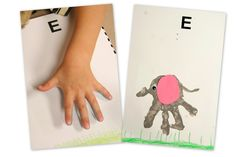'E' is for elephant..have kids cut out ears and draw grass etc