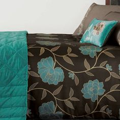 820tc Modern Sky Blue Amp Brown Swirl Queen Duvet Cover By
