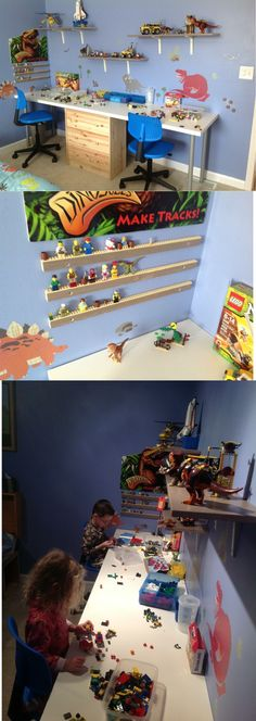 Lego station for the kids! - I like the little shelves for displaying his creations.