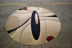 Modern, Contemporary, Round Area Rugs, Rugs On Carpet, Surfboard, Beige, Abstract, Circular Rugs, Summary