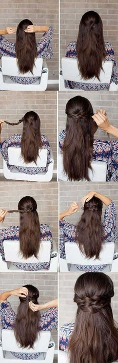 Amazing half up-half down hairstyles for long medium hair. Hair brands with straight natural black color.
