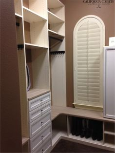 Master closet combining our glazed Ivory finish with our Cassini Beach Tesoro color. Lovely!