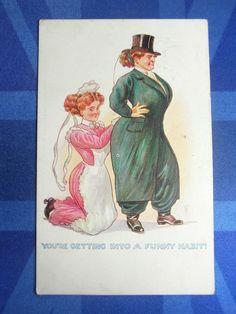 Comic Postcard 1910s Suffragette Fashion HAREM TROUSERS - RIDING HABIT Theme