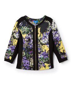 Yellow & Black Floral Panel Jacket - Plus