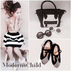 It's a black and white affair in the shoppe today! To order, visit www.modernechild.com . Free shipping! #fashion #kidsstyle