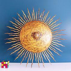 Lámpara sol de techo. Forja dorada. Vintage años 60s. de elNidosingular en Etsy