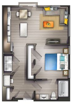 Awesome One Bedroom Studio Apartment Floor Plans Studio Apartment Floor Plans, Studio Apartment Layout, Apartment Interior Design, Studio Layout, Studio Floor Plans, Interior Decorating, Decorating Ideas, Small Apartments, Studio Apartments
