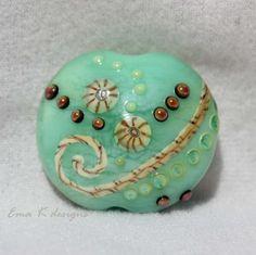 Gulf Side Beach handmade lampwork focal bead by Ema by EmaKDesigns, $45.00
