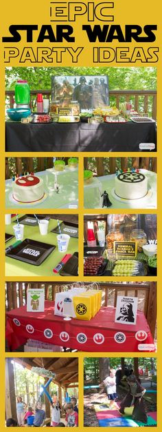 Epic Star Wars Party Ideas. If you're planning a Star Wars party, click here for DIY party decorations and favors, menu and food presentation ideas, party games and activities, the coolest invitations ever and lots of epic #starwars ideas!