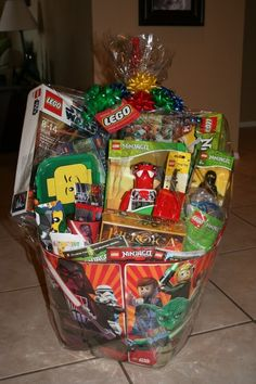 Love this idea and presentation collect all the items at the end lego silent auction basket negle Choice Image
