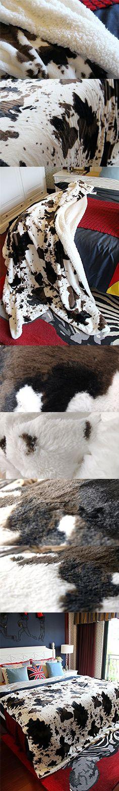 "DaDa Bedding Super Soft Warm Cow Print Sherpa Faux Fur Throw Blanket From Tache, 50"" x 60"""