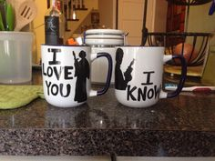 "Star Wars coffee mugs. ""I love you."" ""I know."""