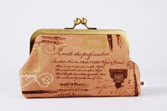 Bag pouch  Handwriting in mocha  metal frame clutch by octopurse, $37.10