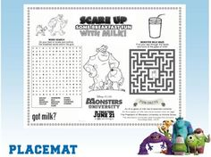 Free Monster's University Printable Placemat - Celebrate the summer hit movie with a Monster of a summer! See Disney Channel and seek out freebies online!