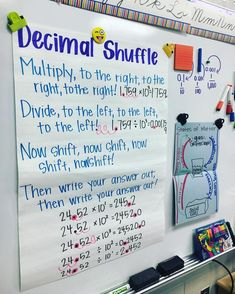 Multiplying and Dividing by Decimals Anchor Chart We noticed a pattern when multiplying and dividing by powers of ten! Can YOU do the Decimal Shuffle? Math 5, Fifth Grade Math, Math Teacher, Math Classroom, Fourth Grade, Future Classroom, Third Grade, Teaching Decimals, Teaching Math
