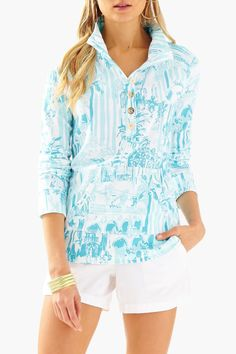 e73d854ac6f Lilly Pulitzer Captain Popover Resort White La Via Loca Pullover XS