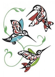 Hummingbirds by Odin Lonning / Hummingbird tattoo art idea Inuit Kunst, Arte Inuit, Inuit Art, Arte Tribal, Tribal Art, Art Haïda, Kunst Der Aborigines, Native Tattoos, 1 Tattoo
