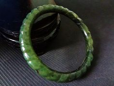 Vintage Chinese Spiral Green Jade Bangle