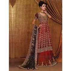 Venetian red Indian wedding lehenga choli dress for bride in UK