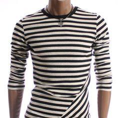 Stripe Slim Long Sleeve T-shirt (SLT-BLACK)