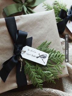 Wrapping, navy bows, greens, kraft paper