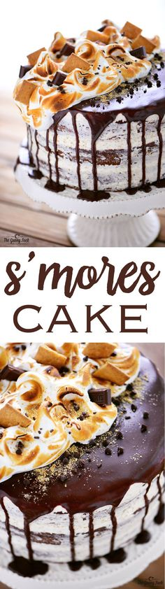 aren't just for campfires! This S'mores Cake will be the start of the party!S'mores aren't just for campfires! This S'mores Cake will be the start of the party! Köstliche Desserts, Delicious Desserts, Yummy Food, Jello Deserts, Cupcake Recipes, Baking Recipes, Dessert Recipes, Kitchen Recipes, Paleo Recipes