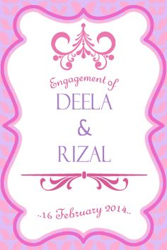 4R table signs. Engagement set for Deela and Rizal! Theme Purple and Pink. Celebrate love with us.