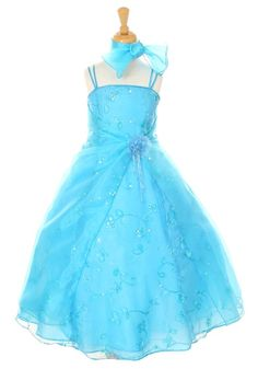 A Line Princess Ankle Length Organza Satin Flower Dress With Embroidered S Sequins Brandy Dollar Popphan Father Daughter Dance Dresses