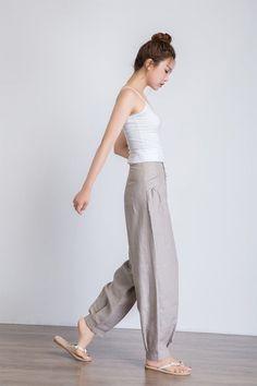 Black Linen Pants, Linen Pants Women, Grey Pants, Trousers Women, Pants For Women, Black Denim, Cigratte Pants, Baggy Trousers, Loose Pants