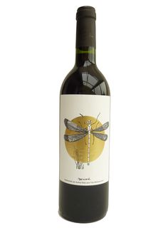 One of the six wine labels for Clos Monicord 2011 - theme on biodiversity at the vineyard - dragonfly - libellule - audrey bakx