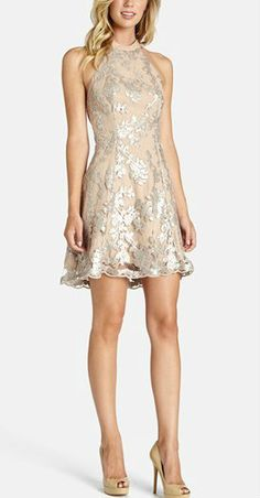 sequin fit + flare dress