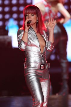 Pin for Later: This Week's Can't-Miss Celebrity Photos Lily Allen donned a shining silver ensemble for a performance in Uniondale, NY. Celebrity Beauty, Celebrity Photos, Celebrity Style, Lily Allen, Silver Jumpsuits, Leather Catsuit, Pictures Of Lily, Dress Up Boxes, Celebs