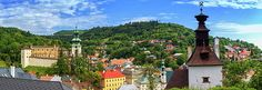 Banska Stiavnica panoramic view with old castle, knocking tower and houses by day, Slovakia Travel Around Europe, Famous Places, Photos Du, Travel Photos, Fine Art America, Photo Art, Castle, Framed Prints, Mansions