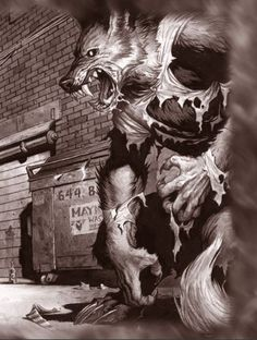 My favorite drawing from Werewolf: the Forsaken. I will forever love that game, because of the werewolf theme of duality. They embrace harmony and rage, belief and disrespect, religion and atheism. They are profound, yet so shallow. Apocalypse, Dark Fantasy, Fantasy Art, Wolf Hybrid, Werewolf Art, Howl At The Moon, Vampires And Werewolves, World Of Darkness, Creepy