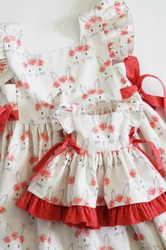 Doll and Girl Matching Dresses Bunny Dresses Girls Size 6 18 Inch Doll 15 Inch Doll Little Girl Dresses, Girls Dresses, Doll Dresses, Peasant Dresses, Baby Dresses, Dress Girl, Doll Dress Patterns, Kids Frocks, Girl Doll Clothes