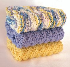 Knit Dishcloths Cotton Dishcloths  Set of 3 by SticksNStonesGifts