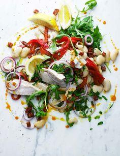 warm butter bean, chicken and chorizo salad