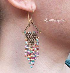 Metallic Beaded Chandelier Earrings Free US by KRDesign on Etsy